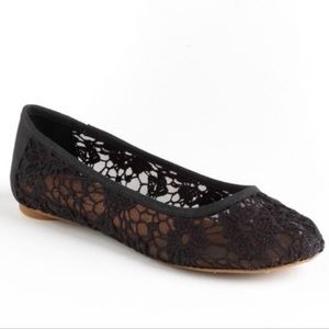 Lucky Brand Elisabeta Crochet Floral Black Flats 7